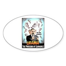 anti obama earmarks Oval Decal