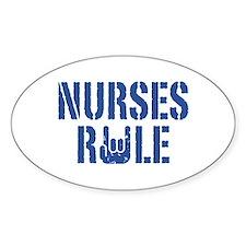 Nurses Rule Oval Decal
