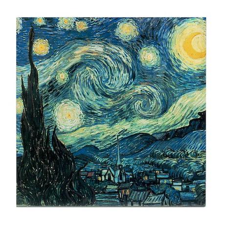 Van Gogh Ceramic Art Tile Coaster Starry Night