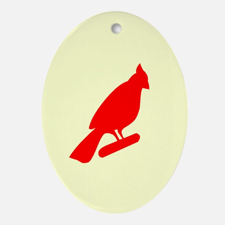 Cardinal On Yellow Oval Ornament