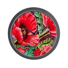 RED RED POPPIES Wall Clock