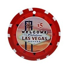 Las Vegas Poker Chip Ornament (Round)