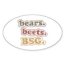 bears. beets. BSG. Oval Sticker
