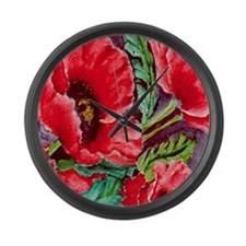 RED RED POPPIES Large Wall Clock