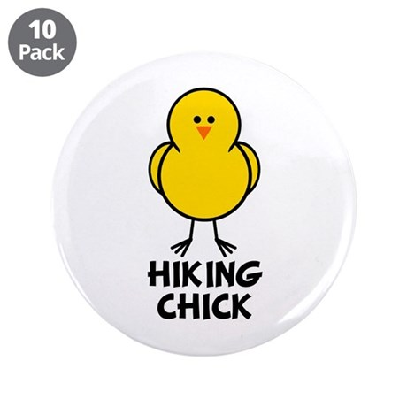 """Hiking Chick 3.5"""" Button (10 pack)"""