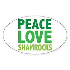 Peace Love Shamrocks Oval Decal