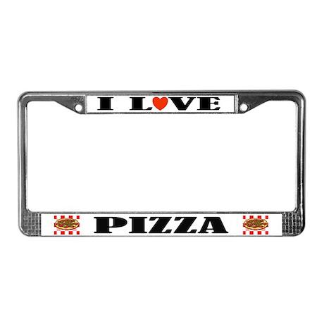 I Love Pizza License Plate Frame