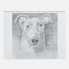 Cute Greyhound pets Wall Calendar
