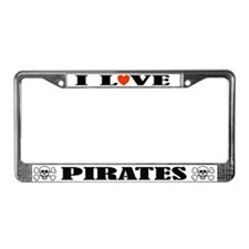 I Love Pirates License Plate Frame