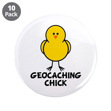 """Geocaching Chick 3.5"""" Button (10 pack)"""