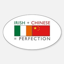 Irish Chinese heritage flag Oval Decal