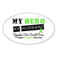 Lymphoma Hero Husband Oval Decal