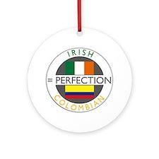 Irish Colombian heritage flag Ornament (Round)