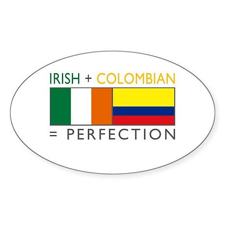 Irish Colombian heritage flag Oval Sticker