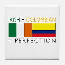 Irish Colombian heritage flag Tile Coaster