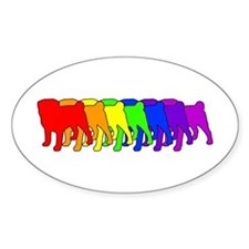 Rainbow Pug Oval Decal