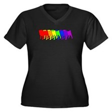 Rainbow Pug Women's Plus Size V-Neck Dark T-Shirt