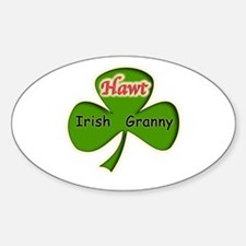 Hawt Irish Granny Oval Decal