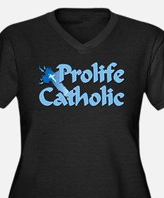 Prolife Catholic Cross Women's Plus Size V-Neck Da