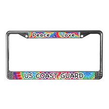 Peace Love US Coast Guard License Plate Frame