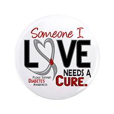 """Needs A Cure 2 DIABETES 3.5"""" Button"""