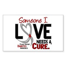 Needs A Cure 2 DIABETES Rectangle Decal
