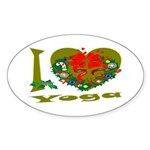 I Love Yoga Oval Sticker