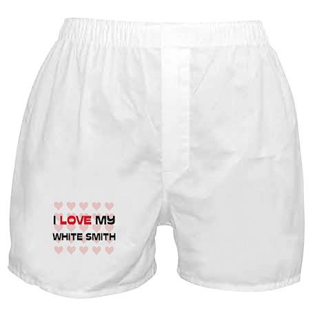 I Love My White Smith Boxer Shorts