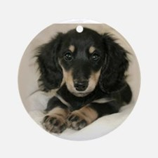 Long Haired Puppy Ornament (Round)