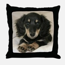 Long Haired Puppy Throw Pillow