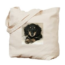 Long Haired Puppy Tote Bag