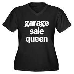 Garage Sale Queen Women's Plus Size V-Neck Dark T-