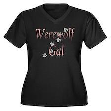 Werewolf Gal Women's Plus Size V-Neck Dark T-Shirt