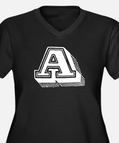 Letter A Women's Plus Size V-Neck Dark T-Shirt