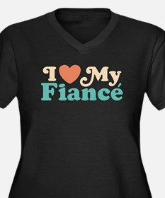 I Love My Fiance Women's Plus Size V-Neck Dark T-S