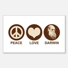 Peace Love Darwin Rectangle Decal