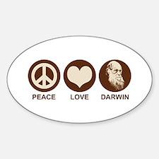 Peace Love Darwin Oval Decal