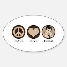 Peace Love Tesla Oval Decal