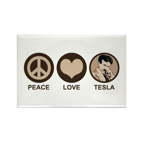 Peace Love Tesla Rectangle Magnet