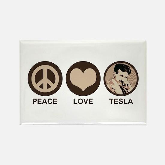 Peace Love Tesla Rectangle Magnet