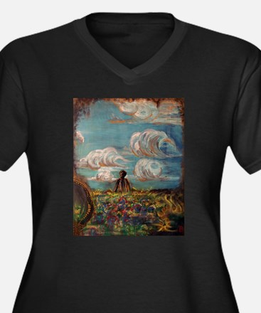 Funny Skyscapes Women's Plus Size V-Neck Dark T-Shirt