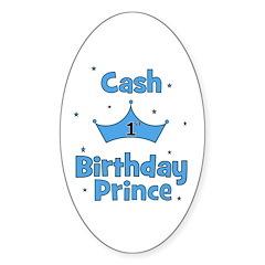 1st Birthday Prince Cash! Oval Decal