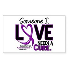 Needs A Cure 2 ALZHEIMERS Rectangle Decal