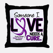 Needs A Cure 2 CROHNS Throw Pillow
