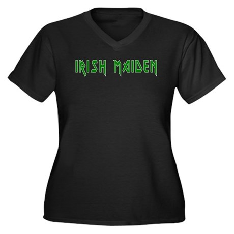 Irish Maiden Women's Plus Size V-Neck Dark T-Shirt