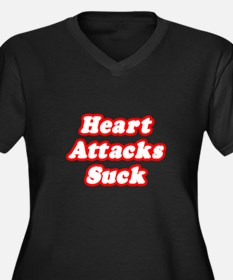 """Heart Attacks Suck"" Women's Plus Size V-Neck Dark"