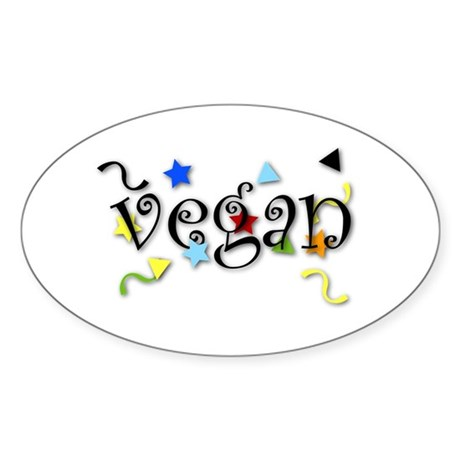 Vegan Curls Oval Sticker