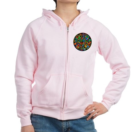 Celtic Stained Glass Spiral Women's Zip Hoodie