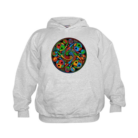 Celtic Stained Glass Spiral Kids Hoodie