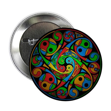"""Celtic Stained Glass Spiral 2.25"""" Button (10 pack)"""